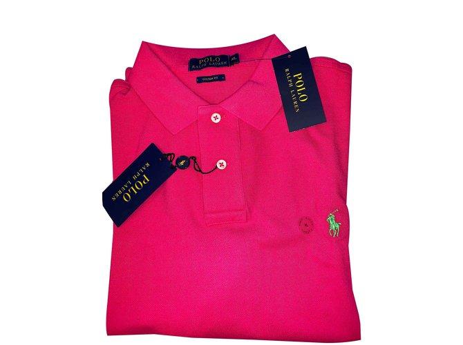 Polo Ralph Lauren Polo Ralph Lauren Rose Custom fit Polos Cotton Pink  ref.100586 7eb2cd2a49f