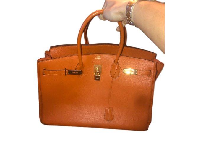 Hermès Birkin Handbags Leather Orange ref.100597