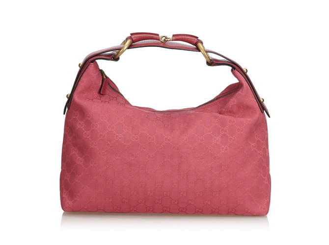240432d7d Gucci GG Horsebit Hobo Bag Handbags Leather,Other,Cloth Pink ref.100733