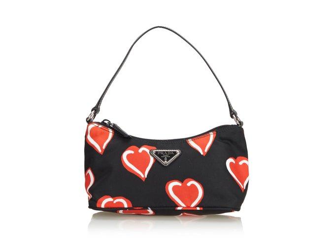 4defd26c0c68bb Prada Heart Printed Nylon Baguette Bag Handbags Leather,Other,Nylon,Cloth  Black,