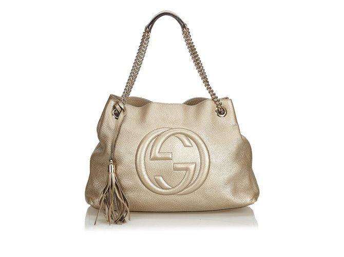 785a2d696cd2 Gucci Soho Leather Chain Shoulder Bag Totes Leather,Other,Metal Golden  ref.100778