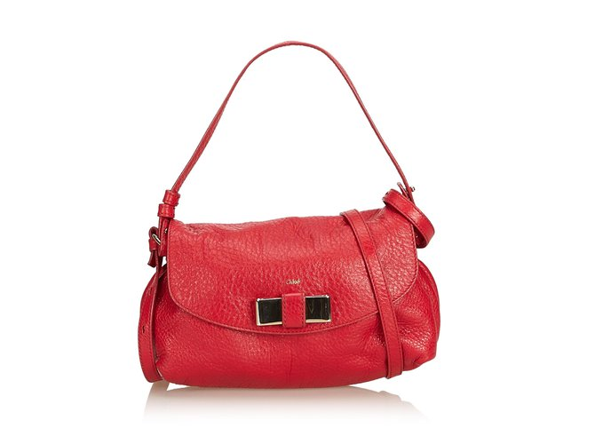 Chloé Leather Lily Bow Satchel Handbags Leather,Other Red ref.100779