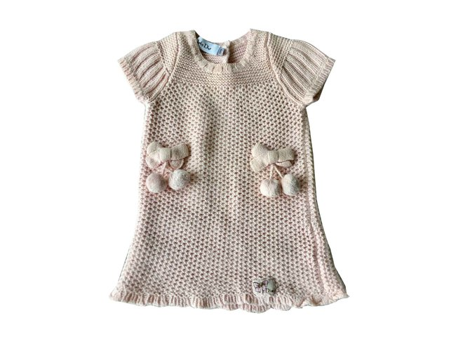 Robes fille Baby Dior Robes Laine Rose ref.100801