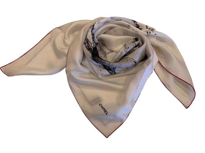 Chanel FOAULARD CHANEL SILK Scarves Silk Eggshell ref.100806
