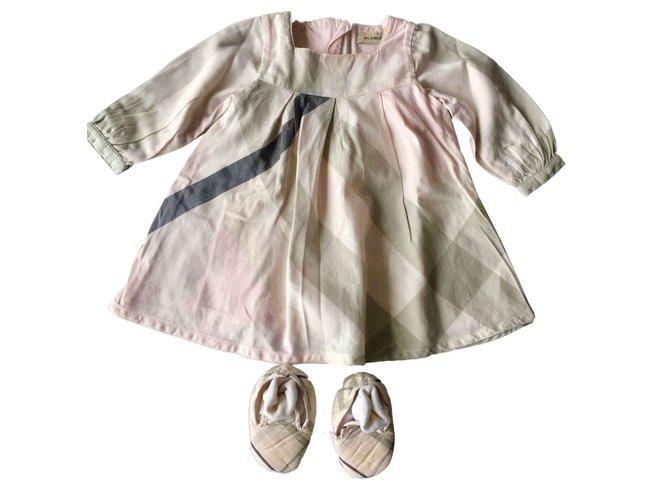 Robes fille Burberry Robes Coton,Laine Noir,Rose,Gris ref.100807