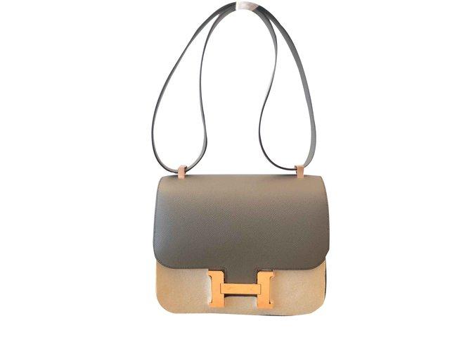 Sacs à main Hermès Sac Hermes Constance 24 Cuir Gris ref.100843