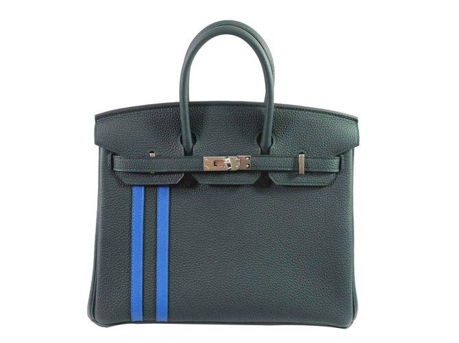 Sacs à main Hermès Birkin 25 Officier Cuir Vert ref.100859