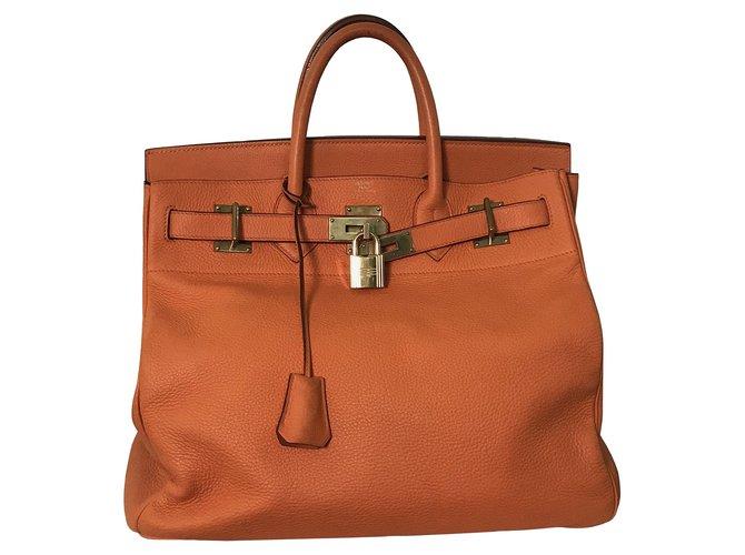 Sacs à main Hermès Haut A Courroies Birkin 40 Cuir Orange ref.100867