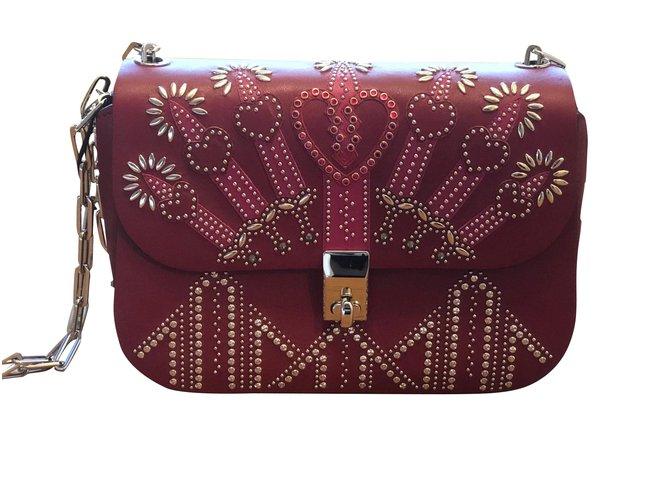 8f3d09ee6fb Valentino Glam Lock Handbags Leather Dark red ref.100881 - Joli Closet