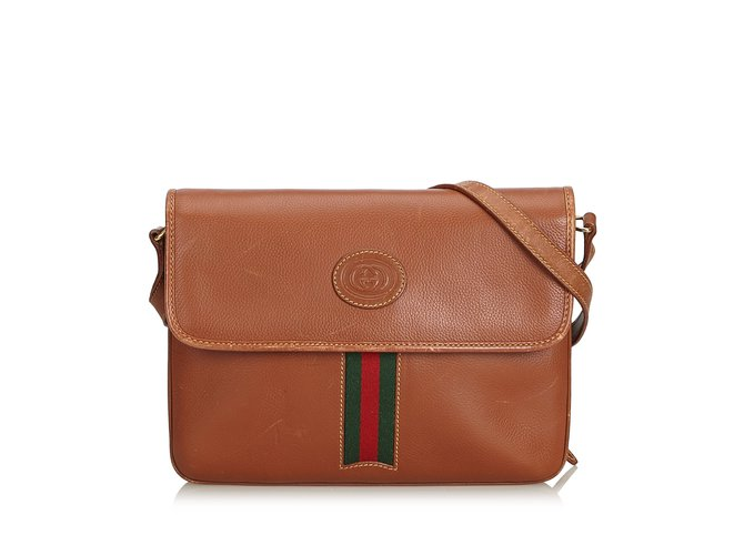 1de860ccb2b094 Gucci Leather Web Crossbody Bag Handbags Leather,Other Brown,Multiple  colors ref.100900