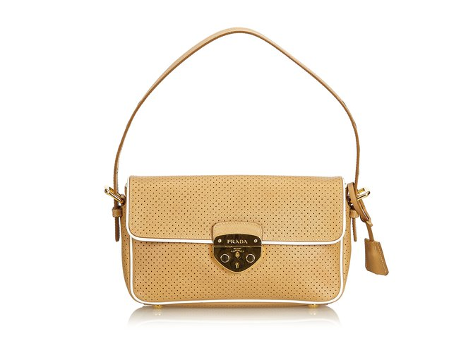 Prada Perforated Leather Baguette Handbags Leather 117a7d345b726