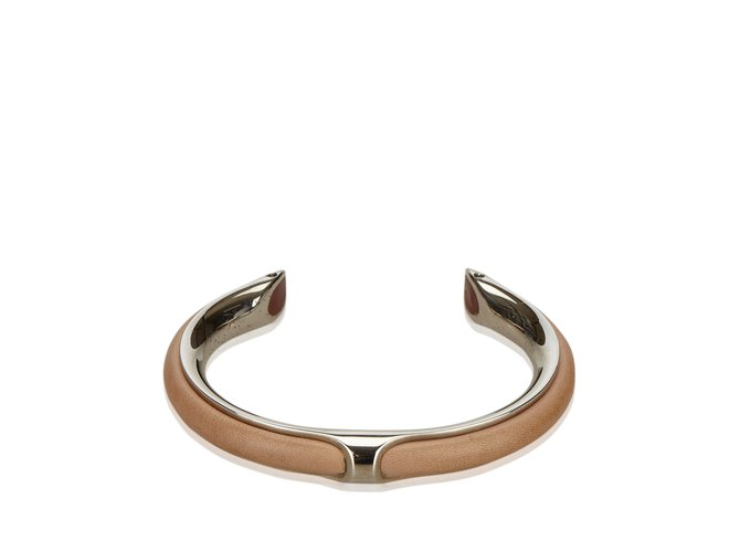 Bracelets Hermès Bracelet en cuir métallisé Cuir,Autre,Métal Marron,Argenté,Beige ref.100941