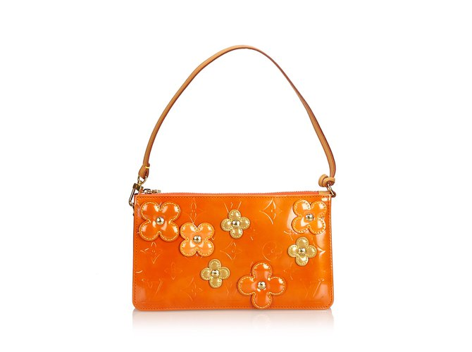 Sacs à main Louis Vuitton Vernis Lexington Fleurs Pochette Cuir,Cuir vernis Orange ref.100942