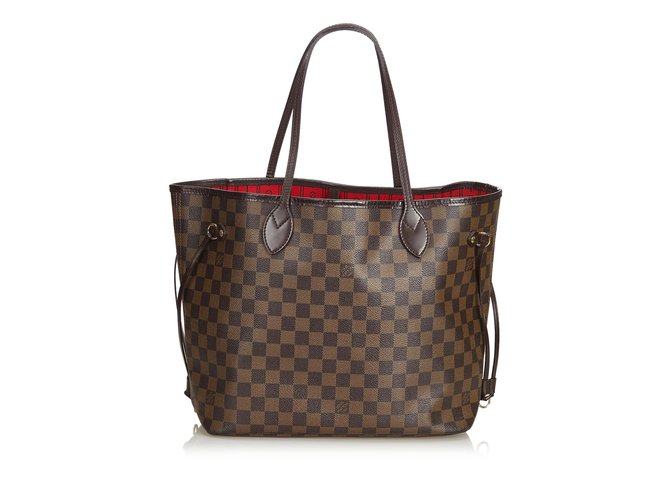 Cabas Louis Vuitton Damier Ebene Neverfull MM Cuir,Autre,Toile Marron ref.100952