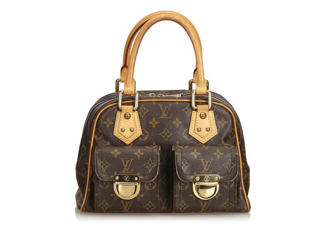 Sacs à main Louis Vuitton Monogramme Manhattan PM Cuir,Toile Marron ref.100953
