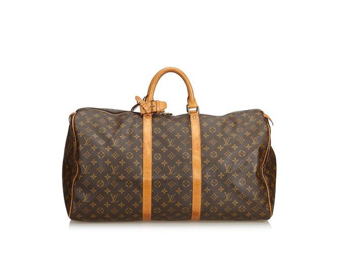 Sacs de voyage Louis Vuitton Monogramme Keepall 55 Cuir,Toile Marron ref.100961