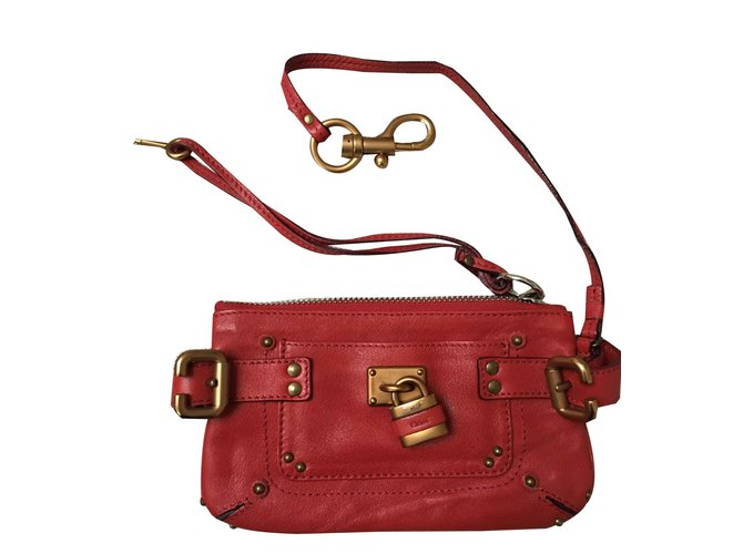 Chloé paddington Clutch bags Leather Red ref.100985
