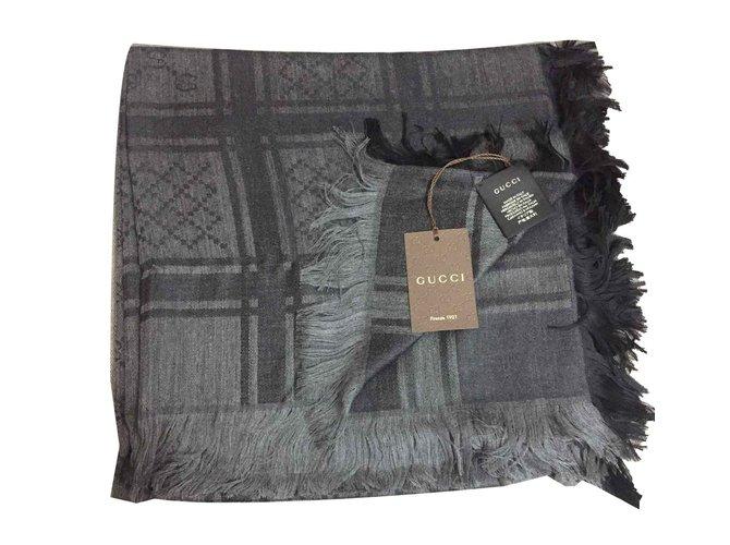 Foulards Gucci Monogramme volé Laine Noir ref.101001