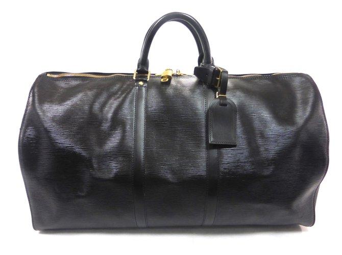 Sacs de voyage Louis Vuitton KEEPALL 55 CUIR EPI NOIR Cuir Noir ref.101011