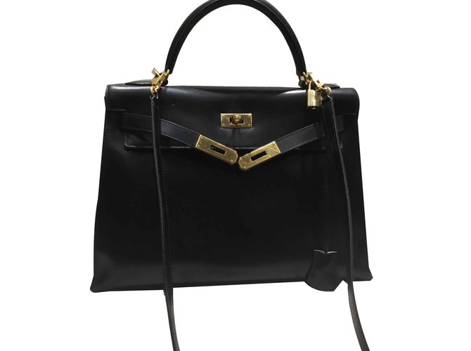 Sacs à main Hermès Kelly 32. sellier Cuir Noir ref.101023