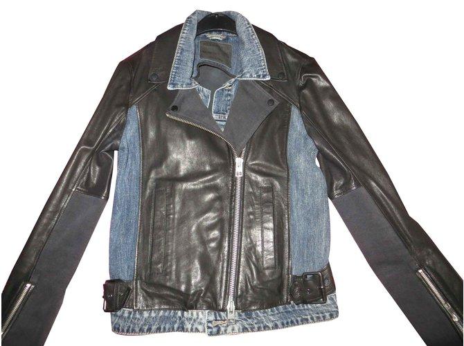 Vestes All Saints perfecto cuir d agneau et jeans All Saints, état neuf cuir 54e231897231