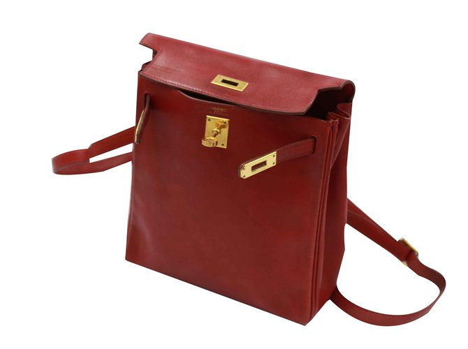 Sacs à main Hermès Kelly a dos Cuir Rouge ref.101028