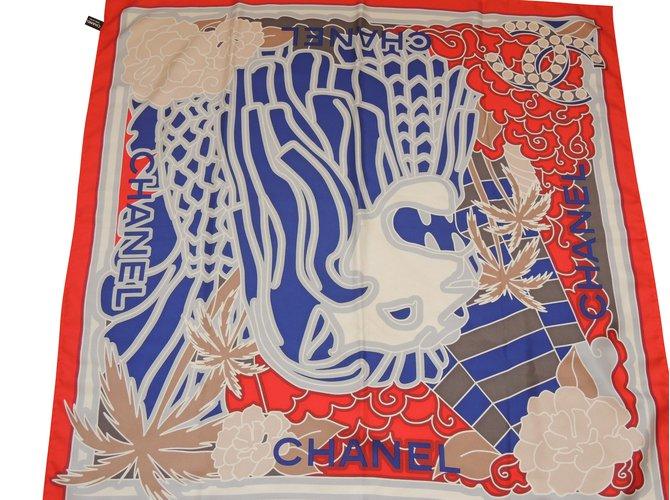 Carrés Chanel CHANEL Carré LION en 100% soie Soie Multicolore ref.101067