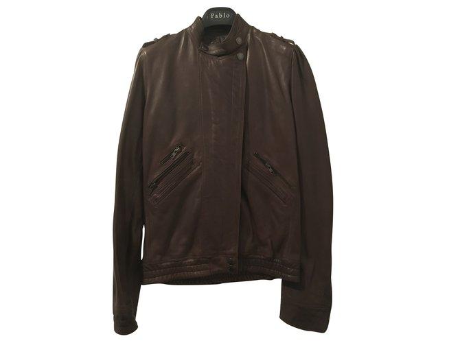 Perfectos Zadig & Voltaire blouson cuir type aviateur/motard Cuir Marron ref.101084