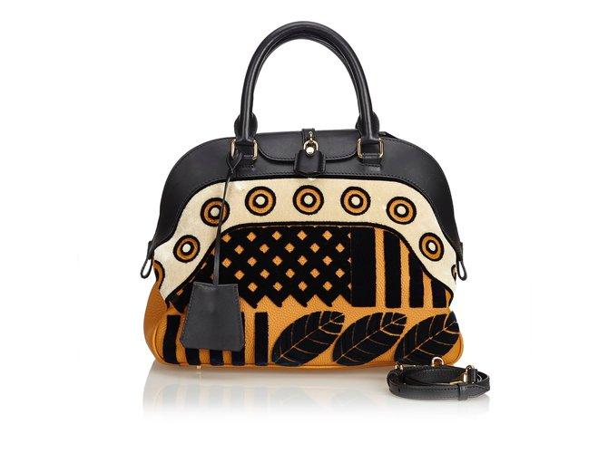 Burberry Milverton Satchel Handbags Leather,Other,Velvet,Cloth Black,Orange  ref. e519db64af
