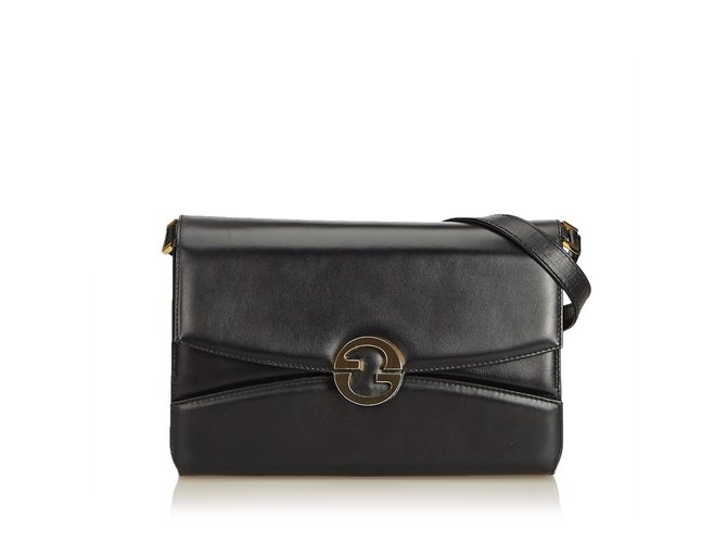 77737b7511 Gucci Old Gucci Leather Crossbody Bag Handbags Leather,Other Black  ref.101101