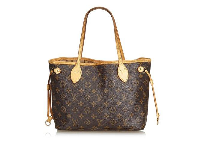 Cabas Louis Vuitton Monogramme Neverfull PM Cuir,Toile Marron ref.101104