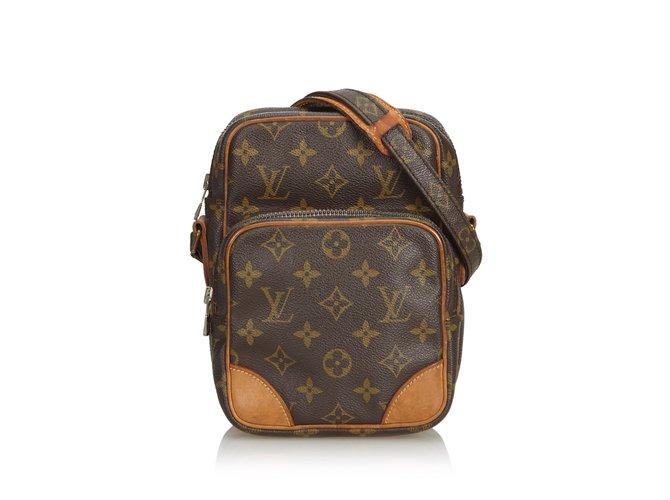 Sacs à main Louis Vuitton Monogramme Amazone Cuir,Toile Marron ref.101143