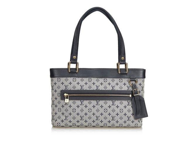 Sacs à main Louis Vuitton Mini Lin Lucille PM Cuir,Autre,Coton,Tissu Noir,Blanc ref.101151