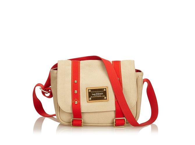 Sacs à main Louis Vuitton Antigua Besace PM Toile,Tissu Marron,Beige ref.101153