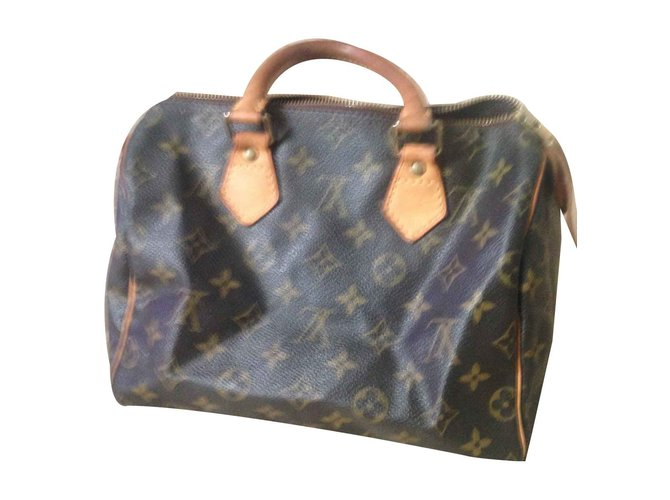 Sacs à main Louis Vuitton speedy 25 Cuir Marron ref.101159
