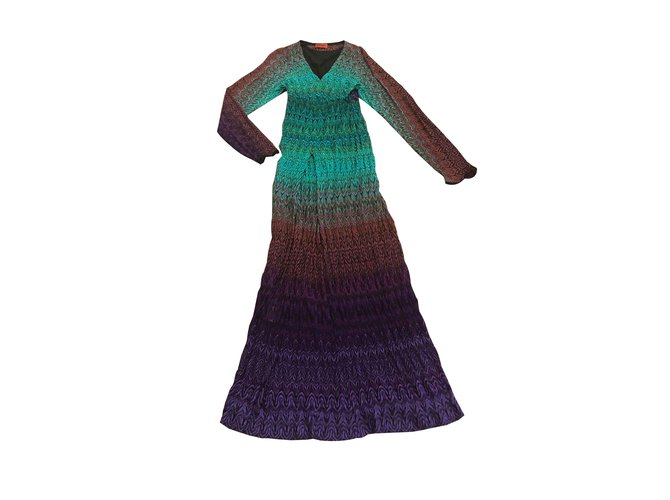 Robes Missoni Robe longue longue Rayon Multicolore ref.101161