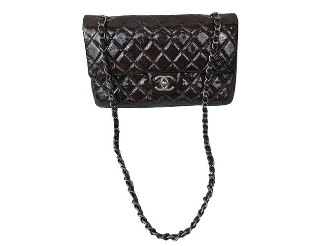 Sacs à main Chanel Timeless Cuir vernis Marron ref.101175