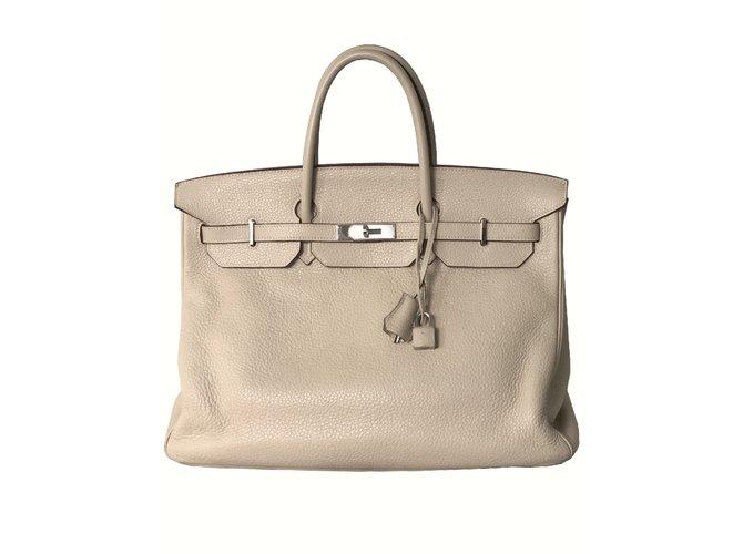 Sacs à main Hermès Sac Birkin 40 Matériel Palladium Cuir Beige ref.101185