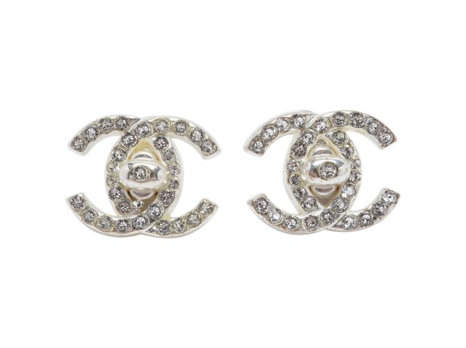 Boucles d'oreilles Chanel CC SILVER RHINESTONE Métal Argenté ref.101195