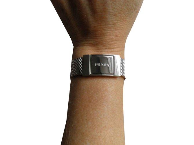 Bracelets Prada logo Autre Argenté ref.101201