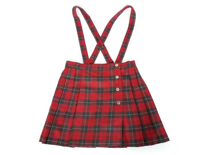 Cacharel CACHAREL Red tartan pleated skirt 6 - 7 YO Skirts Wool Red ref.101210