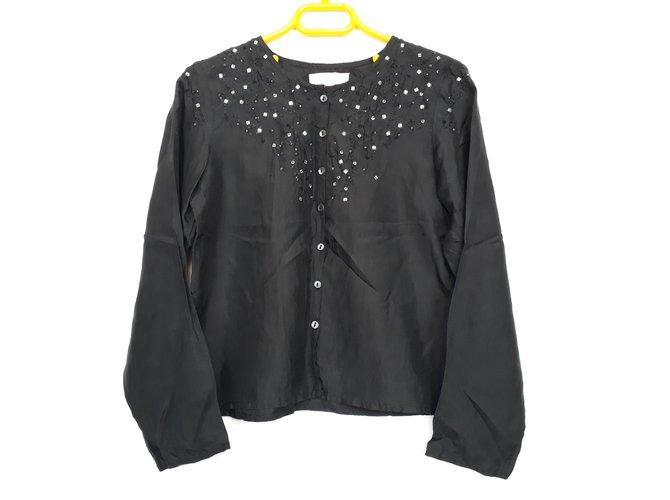 Escada Escada Silk Blouse Size 8 YO Tops Tees Silk Black ref.101226