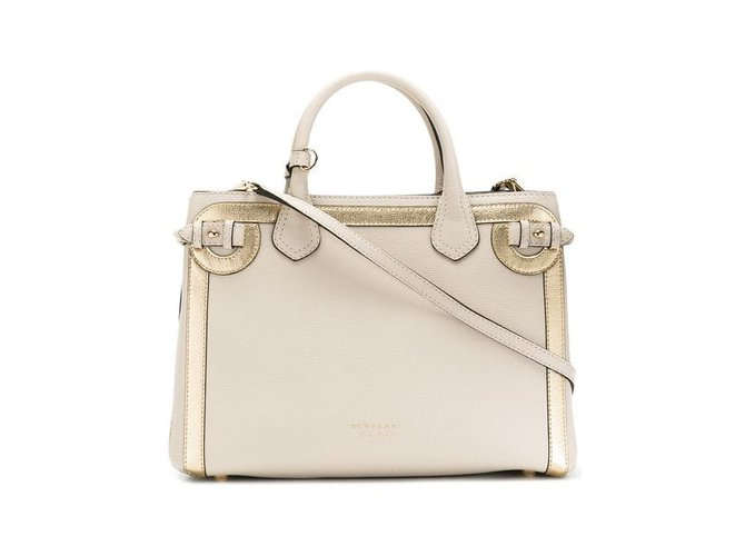Burberry the medium banner in leather with tonal appliqué handbags