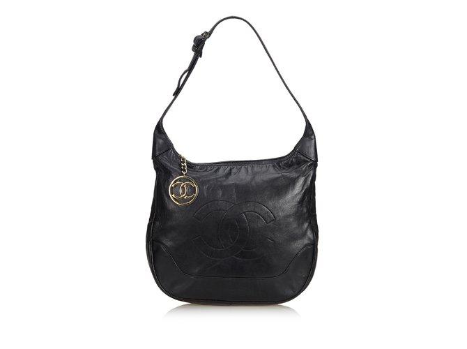 Sacs à main Chanel Sac Hobo En Peau D'Agneau Cuir Noir ref.101281