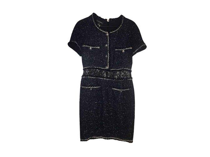 Robes Chanel Chanel Tweed Bleu Marine ref.101288