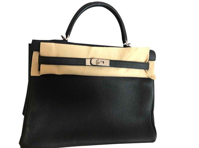 Sacs à main Hermès Kelly Cuir Noir ref.101302