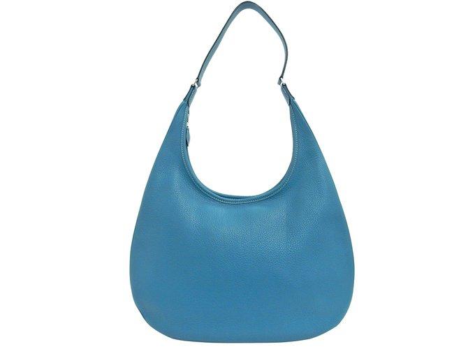 Sacs à main Hermès Clemence Gao Hobo Autre Bleu ref.101304