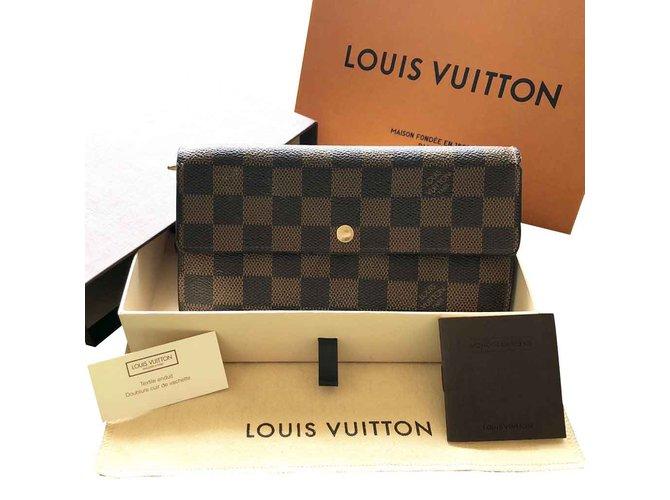 Portefeuilles Louis Vuitton portefeuille damier ebene Cuir Marron clair,Marron foncé ref.101306