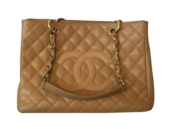 Cabas Chanel Grand shopping Cuir Beige ref.101308