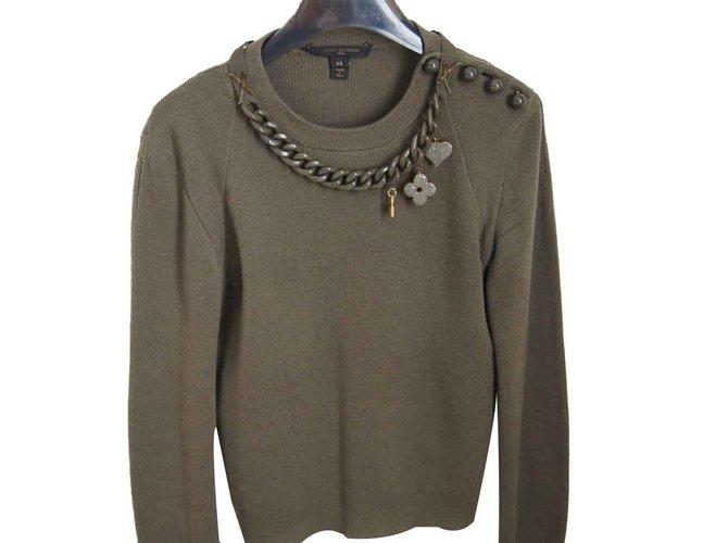 Pulls, Gilets Louis Vuitton Tricots Cachemire Kaki ref.101313